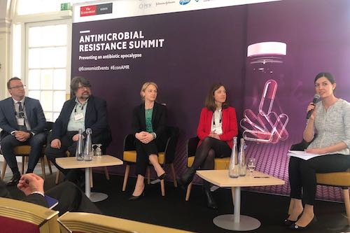 1928 CEO Kristina Lagerstedt participating in a panel discussion at the Economist AMR Summit 2019.