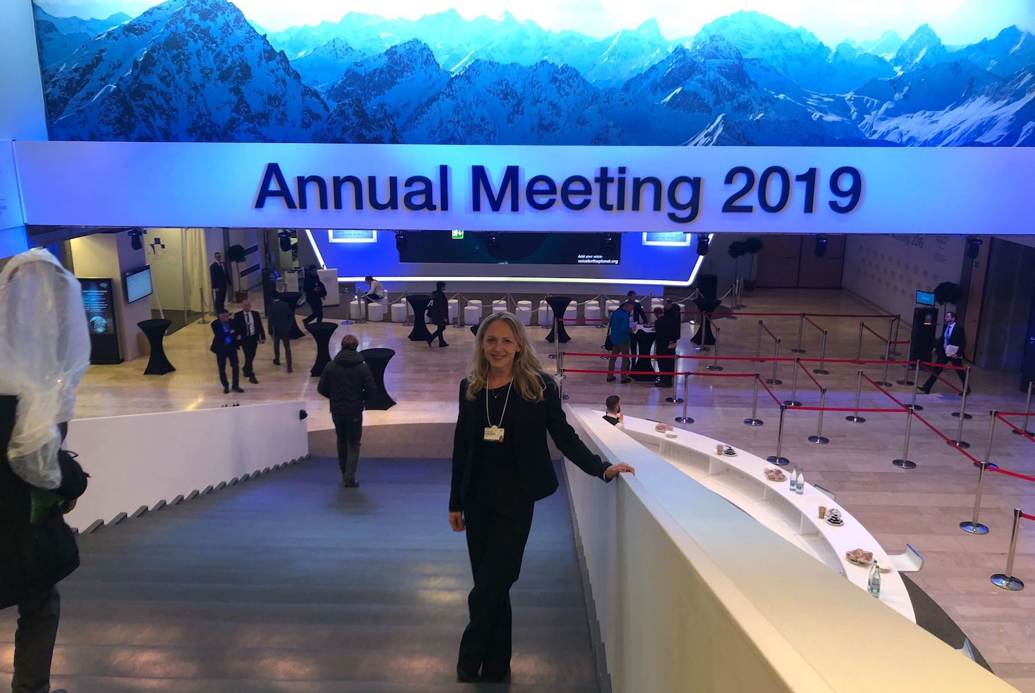 1928 Diagnostics CEO, Kristina Lagerstedt, standing in the big stairs at the Annual Meeting in Davos 2019.